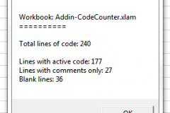 Message box with the results of the code count